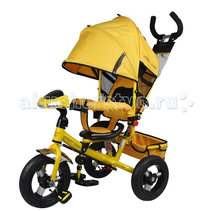 Велосипед трехколесный Street trike А03DА03DВелосипед трехколесный Street trike А03D с ручкой, толкателем, капюшоном на больших надувных колёсах, с музыкальной панелью.  Особенности: большие надувные колёса (12 и 10 дюймов) ручка управления движением позволяет родителям одной рукой контролировать поездку и управлять велосипедом; защитный разъёмный поручень складывающиеся подножки складывающийся двух сегментный капюшон со смотровым окошком спинка с регулировкой угла наклона, 3 положения удобные не проскальзывающие педали из рифленого пластика металлическая хромированная ручка хромированные пластиковые диски эргономичное и удобное сиденье с мягкой тканевой подушкой две мягкие подушечки на спинке возможность блокировки задних колес (тормоз) тканевая багажная корзина для вещей и игрушек музыкальная панель (свет, звук) дополнительный кармашек для мелочей, который крепится на ручке управления  дополнительная центральная амортизирующая пружина под сидением<br>