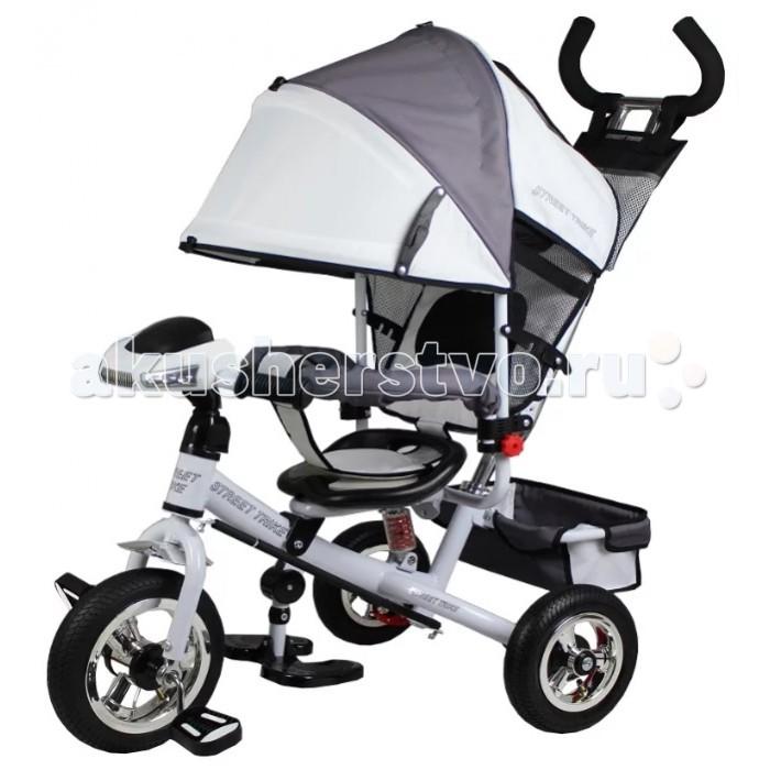 Велосипед трехколесный Street trike А03ЕА03ЕВелосипед трехколесный Street trike А03Е с ручкой, толкателем, капюшоном на больших надувных колёсах, с музыкальной панелью.  Особенности: большие надувные колёса (10 и 8 дюймов) ручка управления движением позволяет родителям одной рукой контролировать поездку и управлять велосипедом; защитный разъёмный поручень складывающиеся подножки складывающийся двух сегментный капюшон со смотровым окошком спинка с регулировкой угла наклона, 3 положения удобные не проскальзывающие педали из рифленого пластика металлическая хромированная ручка хромированные пластиковые диски эргономичное и удобное сиденье с мягкой тканевой подушкой две мягкие подушечки на спинке возможность блокировки задних колес (тормоз) тканевая багажная корзина для вещей и игрушек музыкальная панель (свет, звук) дополнительный кармашек для мелочей, который крепится на ручке управления  дополнительная центральная амортизирующая пружина под сидением<br>
