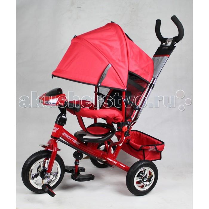 Велосипед трехколесный Street trike А22-1АА22-1АВелосипед трехколесный Street trike А22-1А с ручкой, толкателем, капюшоном на больших надувных колёсах, с музыкальной панелью.  Особенности: большие надувные колёса (10 и 8 дюймов); ручка управления движением позволяет родителям одной рукой контролировать поездку и управлять велосипедом;  защитный разъёмный поручень;  складывающиеся подножки;  складывающийся двух сегментный капюшон со смотровым окошком;  спинка с регулировкой угла наклона, 3 положения;  удобные не проскальзывающие педали из рифленого пластика;  металлическая хромированная ручка;  хромированные пластиковые диски;  эргономичное и удобное сиденье с мягкой тканевой подушкой;  две мягкие подушечки на спинке;  возможность блокировки задних колес (тормоз);  тканевая багажная корзина для вещей и игрушек;  музыкальная панель (свет, звук);   дополнительный кармашек для мелочей, который крепится на ручке управления.<br>