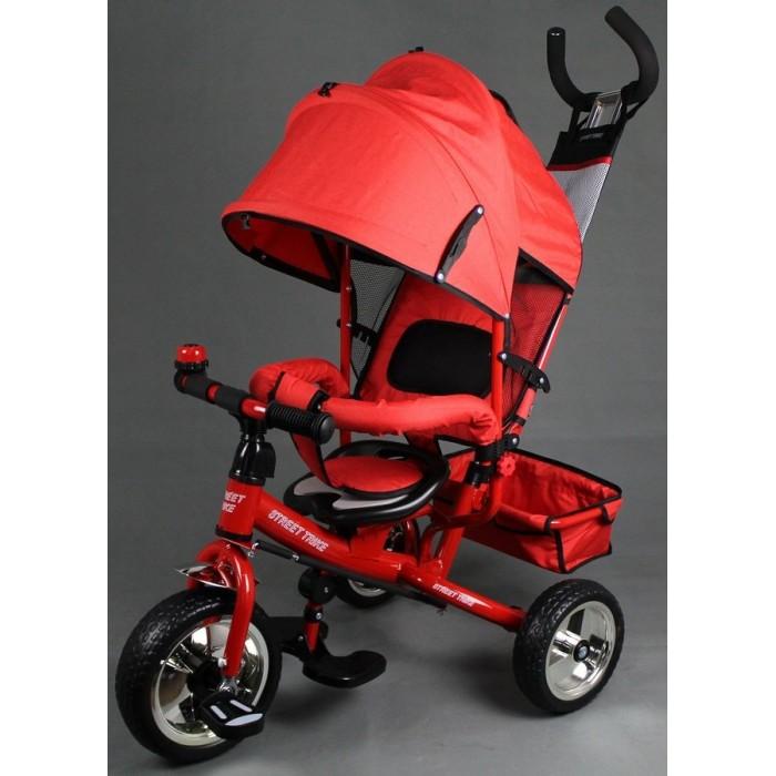 Велосипед трехколесный Street trike A22BA22BВелосипед трехколесный Street trike A22B с ручкой толкателем и капюшоном.  Особенности: ручка управления движением позволяет родителям одной рукой контролировать поездку и управлять велосипедом защитный разъёмный поручень складывающиеся подножки складывающийся двух сегментный капюшон со смотровым окошком спинка с регулировкой угла наклона, 3 положения удобные не проскальзывающие педали из рифленого пластика металлическая хромированная ручка хромированные пластиковые диски эргономичное и удобное сиденье с мягкой тканевой подушкой две мягкие подушечки на спинке возможность блокировки задних колеса тканевая багажная корзина для вещей и игрушек стильный звонок дополнительный кармашек, который крепится на ручке управления колеса из мягкого ПВХ.<br>