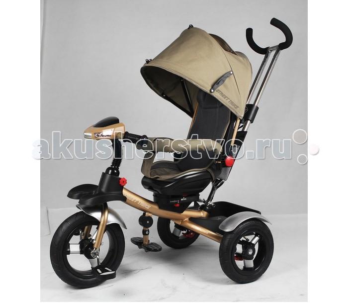 Велосипед трехколесный Street trike A48EA48EВелосипед трехколесный Street Trike A48E с ручкой толкателем, капюшоном и поворотным сиденьем (180&#8304;).  Особенности: ручка управления движением позволяет родителям одной рукой контролировать поездку и управлять велосипедом  защитный разъёмный поручень  складывающиеся подножки  колеса 12 и 10 дюймов складывающийся капюшон со смотровым окошком удобные не проскальзывающие педали из рифленого пластика металлическая хромированная ручка стильный звонок стильные пластиковые диски эргономичное и удобное сиденье с мягкой тканевой подушкой возможность блокировки задних колеса тканевая багажная корзина для вещей и игрушек дополнительный кармашек, который крепится на ручке управления колеса надувные LED фара со встроенной музыкой.<br>