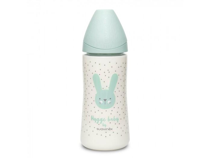 Бутылочка Suavinex Hugge Baby с круглой силикиновой соской (3 позиции) 360 мл.