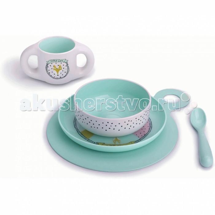 Suavinex Набор посуды 5 предметов от 6 мес.Набор посуды 5 предметов от 6 мес.Практичный и красочный набор посуды.  Предназначен для обучения самостоятельного приема пищи ребенком.  Удобные формы для маленьких ручек.  Красочные расцветки и картинки порадуют Вашего малыша.  Материал не содержит бисфенол А.<br>