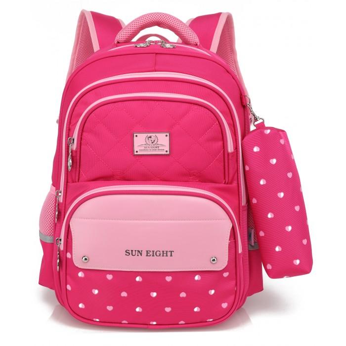 Школьные рюкзаки, Sun eight Рюкзак школьный с пеналом Сердце SE-2701  - купить со скидкой