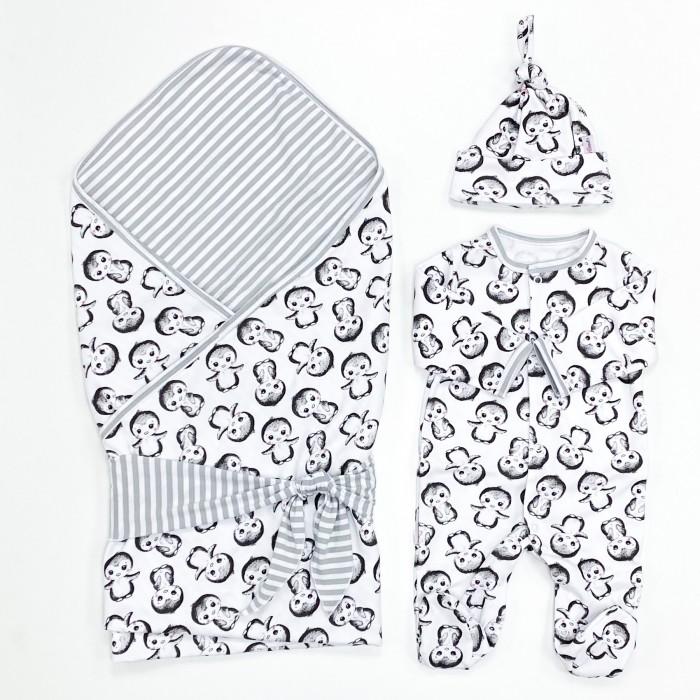 Комплект на выписку СуперМаМкет летний (плед, лента, комбинезон, шапочка) Пингвины