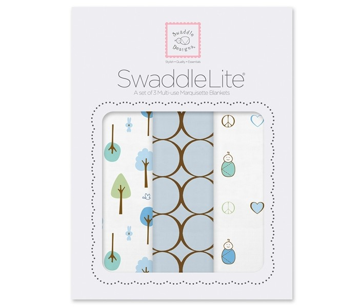 Пеленка SwaddleDesigns SwaddleLite Cute & Calm комплект 3 шт.