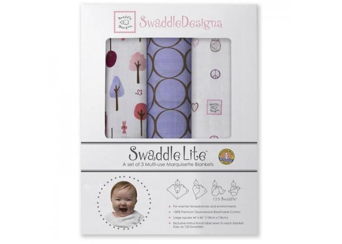 Пеленка SwaddleDesigns SwaddleLite Cute &amp; Calm комплект 3 шт.SwaddleLite Cute &amp; Calm комплект 3 шт.Комплект пеленок SwaddleDesigns SwaddleLite Cute & Calm для новорожденного в красивой фирменной упаковке, состоит из трех легких пеленок серии Marquisette SwaddlingBlanket.  Особенности: Легкие, дышащие из мягкого хлопка маркизет. Эти волшебные пеленки действительно помогают новорожденным спать сном младенца. Замечательный вариант для теплого времени года и дома. Легко следовать инструкции пеленания пришитой к пеленке. Оптимальный, большой размер пеленки 120*120 сантиметров! Ваш ребенок не вырастет быстро из пеленки. Многофункциональные и универсальные. Используйте для пеленания, как легкое одеяло, солнечный козырек, накидку для кормления грудью, при болях в животике. Эту пеленку вы будете использовать на протяжении нескольких лет и не пожалеете о покупке. Дизайн разработан медсестрой Линетт Дамир. Победитель множества наград. Лауреат премии Великий дар (Award Winner Great Gift). Рекомендованы педиатрами и мамами во всем мире. Состав 100% хлопок маркизет, высшего качества<br>