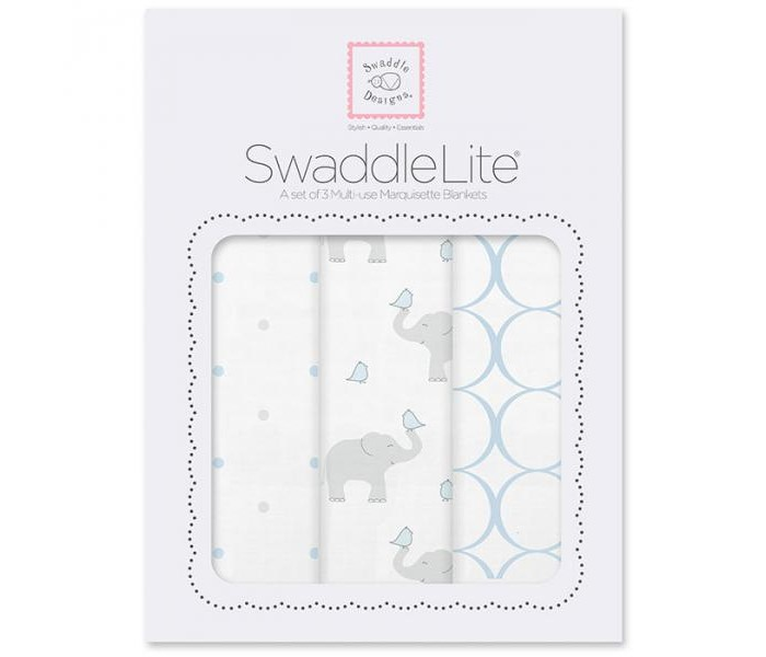 Пеленка SwaddleDesigns SwaddleLite Elephant/Chickies комплект 3 шт.