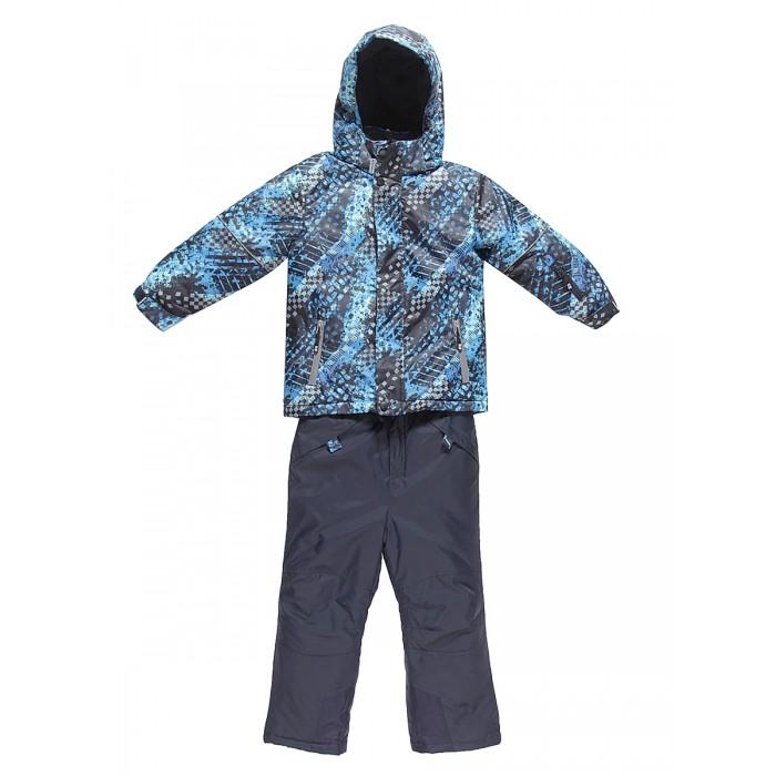 Sweet Berry Комплект для мальчика (куртка и брюки) 833095Зимние комбинезоны и комплекты<br>Sweet Berry Комплект для мальчика (куртка и брюки) 833095 Комфортный и теплый костюм из мембранной ткани.   В конструкции учтены физиологические особенности малыша. Съемный капюшон на молниях с дополнительной утяжкой, спереди установлены две кнопки.    Рукава с манжетами, регулируются липучкой. На куртке два кармана, застегивающиеся на молнию. Застежка-молния с внешней ветрозащитной планкой. Брюки на регулируемых подтяжках гарантируют посадку по фигуре.    Колени, задняя поверхность бедер и низ брюк дополнительно усилены сверхпрочным материалом. Силиконовые отстегивающиеся штрипки на брючинах.   Ткань верха: мембрана 10000мм/5000г/м2/24h, waterproof, водонепроницаемая с грязеотталкивающей пропиткой.   На флисовой подкладке, синтетический утеплитель 220 г/м#178; (куртка), 180 г/м#178; (рукава, п/комбинезон).   Температурный режим: от -35 до +5 С  куртка: 100% полиэстер  брюки: 100% нейлон   подкладка: 100% полиэстер  утеплитель: 100% полиэстер