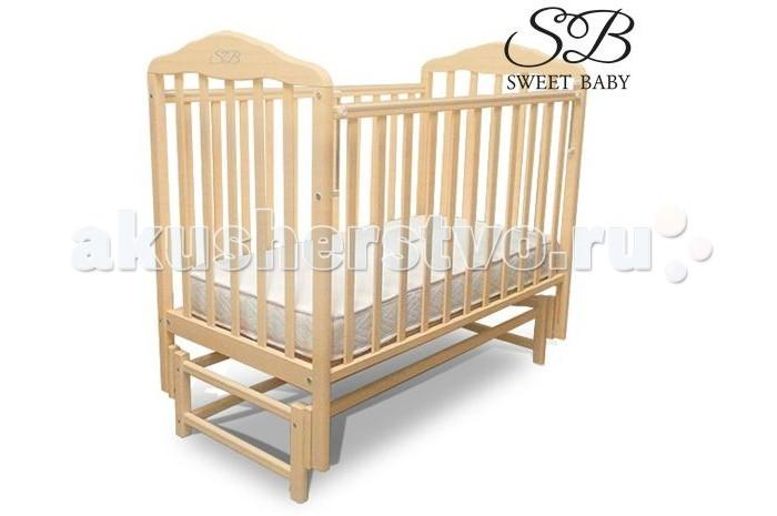 Детская кроватка Sweet Baby Giuliano продольный маятникGiuliano продольный маятникДетская кроватка Sweet Baby Giuliano  сочетает в себе изысканный дизайн и надежность. Кроватка изготовлена из натуральной древесины бука, являющимся одним из лучших и безопасных материалов детской мебели. Для окраски кроватки применяются лаки, не содержащие вредные для здоровья ребенка вещества.  Массив березы является главной составляющей детской кровати Sweet Baby за счет свойств породы натурального дерева продлевается срок службы,отсутствуют вредные испарения и посторонние запахи,поэтому гарантирована гипоаллергенность и безопасность.  Особенности: маятниковый механизм продольного качания позволяет комфортно и безопасно укачивать малыша опускающаяся боковая стенка, механизм опускания - кнопка маятниковый механизм легко демонтируется и кроватка прочно стоит на ножках ортопедическое ложе 2 уровня положения ложа по высоте хорошо вентилируемое реечное дно<br>