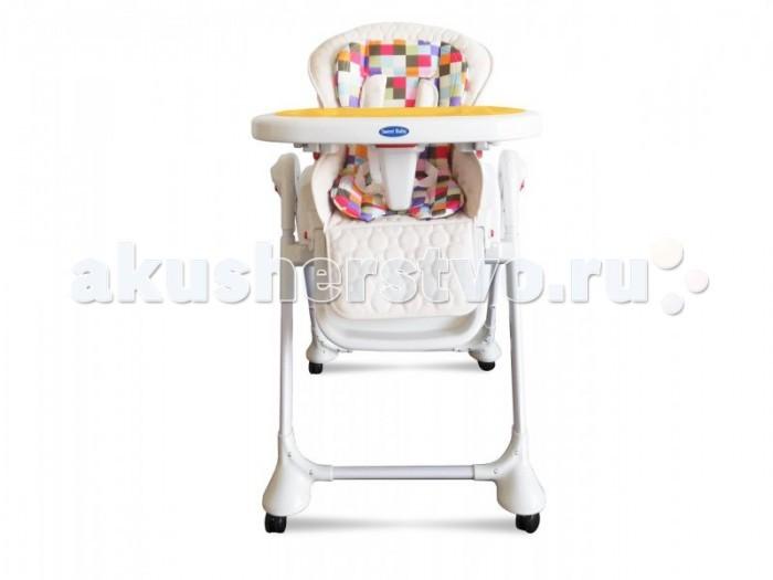 Стульчик для кормления Sweet Baby Luxor MulticolorLuxor MulticolorСтульчик для кормления Sweet Baby Luxor Multicolor – теперь это не просто стул для кормления, а и колыбель, в которой Ваш малыш сможет прекрасно отдохнуть.   Особенности: Новая функция делает изделие крайне удобным. Она убивает сразу двух зайцев: малышу обеспечен крепкий сон, а маме – возможность заняться чем-то параллельно. Вы с огромным удовольствием будете пользоваться стульчиком с первых дней жизни малыша и до достижения им 3-летнего возраста.  Сидение выполнено из безопасной гипоалергенной экокожи, на нем расположен мягкий вкладыш, который легко снимается. Сидение достаточно широкое и оснащено анатомическим разделителем для ножек – Вашему малышу будет очень комфортно с первых минут пребывания в нем. Спинка стульчика наклоняется в 3 позициях и имеет 5 уровней высоты – в любой момент Вы можете выбрать оптимальное положение. Максимальная высота спинки – 103 см, а максимальный угол наклона – 170°С.  Подножка имеет не только 3 угла наклона, но может удлиняться также в 3 позиции – по мере роста Вашего малыша. Поднос выполнен из прочного пластика и оборудован съемной накладкой. Поверхность легко снимается, а для удобства хранения может быть подвешена на задние ножки. Поднос фиксируется в 3 различных положениях и имеет 2 углубления под стаканчики. Уход за подносом не вызывает затруднений: Вы можете его помыть как самостоятельно, так и в посудомоечной машине. Специальная корзинка – и любимые игрушки всегда под рукой! 4 колесика делают стульчик очень маневренным, а тормоза на каждом колесике надежно его закрепляют.  5-точечный ремень безопасности фиксирует положение малыша в плечах, ножках и животике и регулируется в объеме. Ручной Механизм КАЧАНИЯ сидения (вперед-назад)<br>