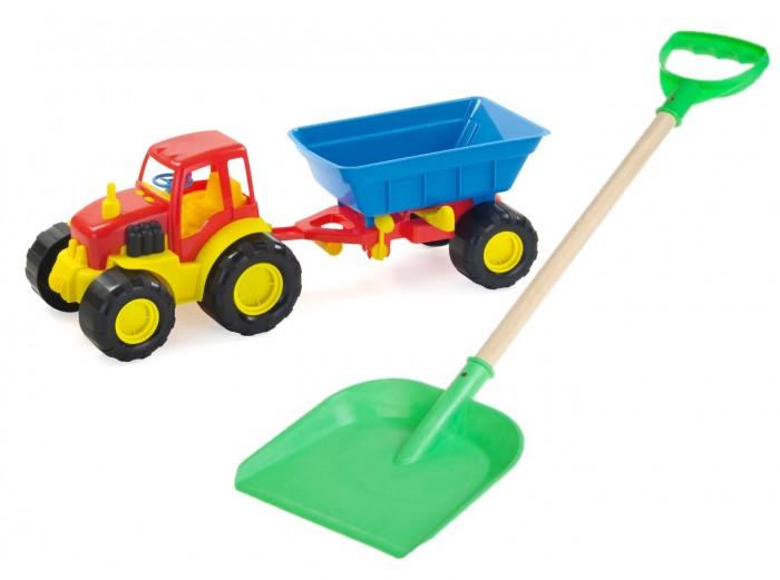 трактор с прицепом игрушка efko трактор с прицепом игрушка Игровые наборы Тебе-Игрушка Трактор с прицепом Active + лопата пластмассовая с деревянной ручкой 60 см