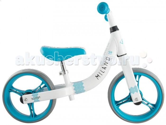 Беговел Tech Team Milano 1.0Беговелы<br>Tech Team Беговел Milano 1.0 - это детский беговел (велосипед без педалей). Беговел поможет ребенку развить координацию и чувство равновесия, а также укрепит мышцы ног и спины. Конструкция беговела очень крепкая и практичная. Алюминиевая рама выдержит любые приключения, а колеса EVA смягчат перемещение по неровным участкам дороги. Удобное мягкое сиденье регулируется по высоте.   Особенности: Шикарный дизайн  Алюминиевая прочная рама  Отличная управляемость  Сиденье регулируется по высоте Колеса EVA 12 дюймов  Размеры: Минимальный рост: 85 см Максимальный вес: 25 кг Высота сидения: 27 - 45 см Ширина руля: 37 см Диаметр колес: 12