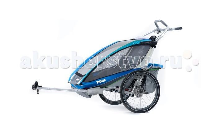 Thule Велоприцеп Chariot CX-2Велоприцеп Chariot CX-2Мультиспортивный велосипедный прицеп-коляска Thule Chariot CX отличается идеальным сочетанием комфорта, стиля и высоких технологий. Это именно то, что нужно молодым семьям, ведущим активный образ жизни. Благодаря широкому сидению возможна перевозка сразу двух детей. С набором для крепления к велосипеду.  Особенности Обтекаемый дизайн идеально подходит для различных видов спорта Регулируемая подвеска для мягкой и ровной езды Удобный руль идеально подходит для пробежек Благодаря дисковому тормозу увеличивается контроль за тормозной системой в горной местности Полная вентиляция окон для контроля температуры Съемное мягкое сиденье для удобства ребенка Пятиточечные детские ремни безопасности Специальная рейка для крепления аксессуаров Система Click n'Store™ для хранения наборов для переоборудования в колясках  Грузоподъемность - 45 кг Ширина плеча - 59 см Высота посадки - 65 см Размеры в сложенном виде (Д х Ш х В) - 109 x 80 x 27 см<br>