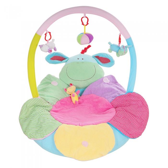 Развивающий коврик Tinbo Toys надувной Ослик и ЦветокРазвивающие коврики<br>Развивающий коврик Tinbo Toys надувной Ослик и Цветок очень интересный, необычный коврик для вашего малыша, который можно использовать не только как коврик, но и как своеобразное креслице. Это яркое игровое пространство не только развлечёт вашего кроху, но и поможет с пользой провести время, так как тут найдётся всё необходимое для развития его подвижности, моторики, зрения и тактильных ощущений.   развивающий коврик надувной Цветочек дуга с веселыми игрушками 2 надувных бортика можно использовать в разных вариациях в комплекте насос