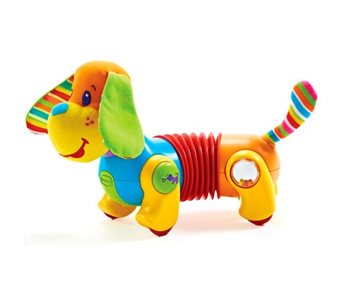 Интерактивная игрушка Tiny Love Собачка Фрэд Догони меняСобачка Фрэд Догони меняДля малышей от 6 месяцев.   мягкие висящие ушки из ткани различной фактуры, с шуршащим наполнителем; мягкая мордочка и хвостик; на лапках маленькие ребристые колесики; туловищегармошка растягивается и изгибается - такое забавное строение туловища позволяет щеночку ходить как по прямой, так и по кругу, в одну сторону или другую, а также легко регулировать размер круга; управляющие кнопочки и игрушечки на лапках:  1) переключение скорости движения (2 варианта);  2) демонстрационная - при нажатии на кнопочку с косточкой Фред лает, звучит веселая мелодия (всего 6 вариантов);  2) забавная игрушка под прозрачным пластиковым окошком находится зеркальце и свободно пересыпаются маленькие разноцветные шарики;  4) на другой лапке также есть веселая игрушечка: под прозрачным пластиковым окошком - подвижная картинка-голограммка с прячущимся Фредом и несколько маленьких цветных шариков, свободно пересыпающихся.  громкость звука регулируется на животике собачки 2 положения.    Фред начинает движение от прикосновения, идет на короткое расстояние и останавливается ждет следующего прикосновения.   Режимы игры:  1) движение с музыкой и звуковыми эффектами;  2) движение без музыки и звуковых эффектов;  3) музыка и звуковые эффекты без движения.  Игрушка отвечает наивысшим стандартам качества и безопасности, не содержит ПВХ.   Батарейки 3хАА (входят в комплект). Материал высококачественная пластмасса, полиэстер. Размер игрушки 26х12х19h см (удлиняется до 29 см). Размер упаковки 26х14х24 см.<br>