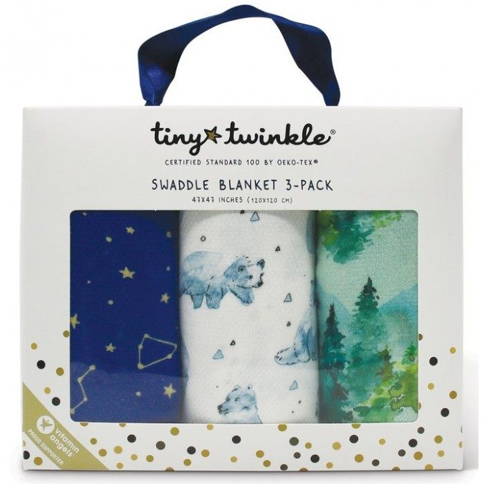 Пеленка TinyTwinkle Лес, Белые мишки, Звездное небо 120х120 см 3 шт. фото