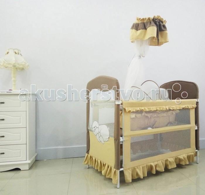 Кроватка-трансформер Tizo Lovely BearLovely BearКровать-трансформер Tizo Lovely Bear имеет два положения для регулировки по высоте, что очень удобно, так как кроватку можно использовать как манеж.   В комплектацию входят большая колыбель с функцией укачивания. Боковые стенки с легкостью опускаются, что позволяет использования в качестве детского диванчика, также опускается одна из боковых стенок, что позволяет превратить кроватку в пеленальный столик.   Кроватка имеет четыре колеса и это удобно без всяких усилий перемещать ее по комнате.   Комплектация:  Кроватка маленькая колыбель балдахина крепление для балдахина.   Размеры (ДxШхВ): 123 х 69 х 107 см  Максимальная нагрузка на кровать-манеж составляет 35 кг<br>