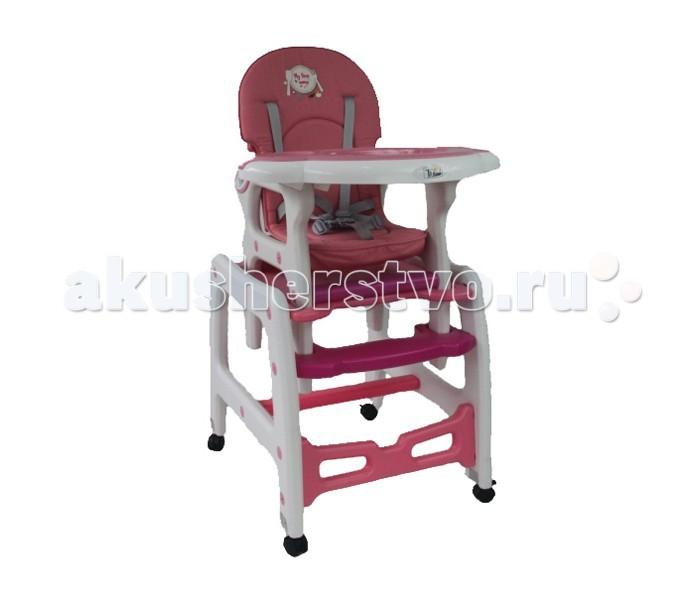 Стульчик для кормления Tizo HC-223HC-223Tizo Стул + стол трансформер HC-223  Трансформируемый стул для кормления. Изготовлен исключительно из высококачественной пластмассы. Широкое основание обеспечит надежную устойчивость.  Также оно установлено на четыре съемных колеса, каждый из которых обеспечен тормозом. Конструкция позволяет с легкостью превращаться из стульчика для кормления в функциональный столик и стульчик. У стульчика отсутствуют острые углы, что гарантирует полную безопасность малыша.   Также стульчик оснащен 5-ти точечным  ремнем безопасности, который не позволит соскользнуть ребенку с сиденья, даже если он отличается повышенной активностью. Обивка сидения изготовлена из мягкой ткани, которая без особого труда моется и чистится. Спинка имеет три уровня наклона.  Особенности: С 6 месяцев до 3х лет Наклон спинки регулируется в 3-х положениях Колеса оснащены тормозами Трансформация в стульчик и столик Отсутствие острых углов Съемный поднос, съемный столик Удобная подножка Съемные колеса Ремни безопасности<br>