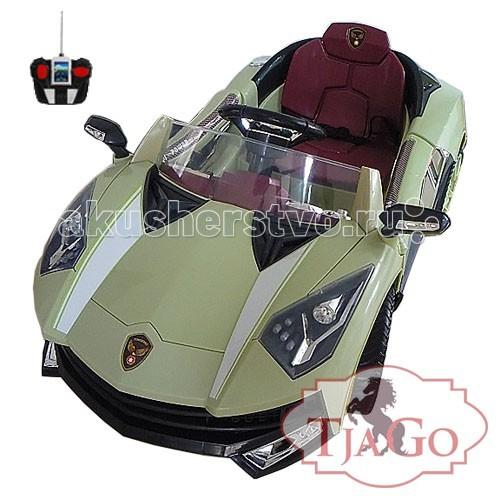 Электромобиль TjaGo Lamborghini (надувные колеса)Lamborghini (надувные колеса)Электромобиль TjaGo артикул 8188 для детей от 3х до 6 лет (нагрузка до 30 кг)  Особенности: 1 посадочное место Открываются двери Аккумулятор 2x6V, 7A/h  Время работы 1 заряда батареи 1.5-2.5 часа 2 скорости вперед, 1 скорость назад Мощность мотора 40 ватт Скорость 3-4 км/ч Нажатие на педаль приводит машину в движение, отпускание - торможение. Радиопульт управления: вперед, назад, вправо, влево на расстоянии 20 метров Ремни безопасности Звуковые и световые эффекты, сигнал, свет фар Зеркала заднего вида Разъем для МР3 плеера с регулировкой громкости Колеса надувные, камерные. Благодаря чему, ход машины более мягкий и тихий  Размеры электромобиля - 122х73х52 см Вес 16 кг<br>
