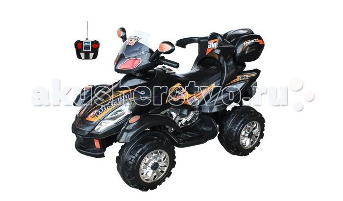 Электромобиль TjaGo WinnerWinnerДетский квадроцикл TjaGo Winner на аккумуляторе 903FS с пультом управления.  Для детей от 3х до 8 лет (нагрузка до 30 кг) Аккумулятор 2х6 вольт, 7 A/h  Время работы 1 заряда бат. 1-1.5 часа 2 скорости вперед, 1 скорость назад Мощность мотора 12 ватт Скорость 4.5 км/ч Разъем для МР3 плеера Дистанционный пульт радиоуправления: вперед, назад, вправо, влево на расстоянии 20 метров Звуковые и световые эффекты, сигнал, свет фар Багажник (открывается) 4 колеса из прочного пластика Размеры квадроцикла - 116х62х66 см, вес 10.5 кг<br>