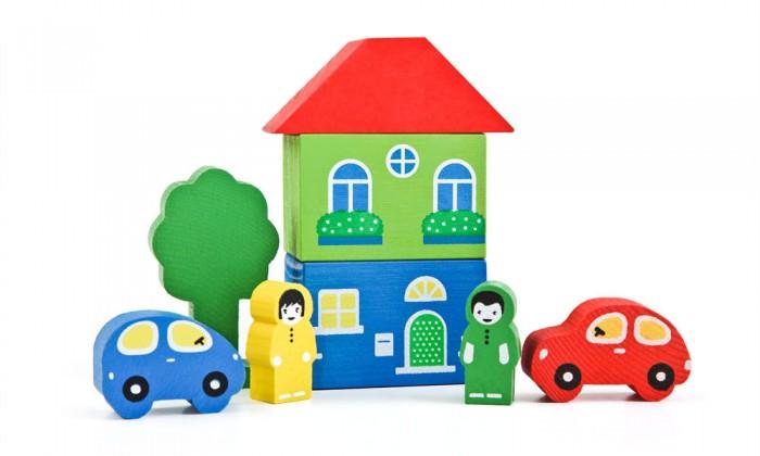 Деревянные игрушки Томик Конструктор Цветной городок 8 деталей томик деревянный конструктор цветной 26 деталей