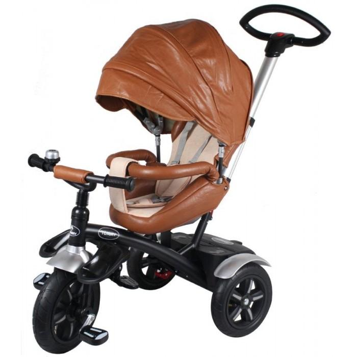 Велосипед трехколесный Tommy PrestigePrestigeТрехколесный велосипед Tommy Prestige отлично подойдет, как для личного использования, так и станет отличным подарком. Уникальная модель.  Сиденье, козырек, руль и бампер обшиты прочной и качественной эко-кожей. Велосипед укомплектован козырьком, бампером, подножкой и имеется трехточечный ремень безопасности, что позволяет надежно усадить ребенка на велосипед. Ручка для контролирования езды велосипеда регулируется по высоте.   В велосипеде присутствует два положения.  Первое положение, когда ребенок сидит лицом вперед и может крутить педали.  Второе положение, когда ребенок сидит к Вам лицом, благодаря этому велосипед можно использовать вместо прогулочной коляски в любое время года, даже зимой. Особенности: Регулируемая по высоте ручка для родителей, предназначенная для поворота руля и толкания велосипеда вперед и назад (не для нажатия на нее и заездов на бордюры, ступеньки и т.д)  Двухступенчатая регулировка спинки сидения  Ремни безопасности с мягкими плечиками  Защитный бампер разъединяется для удобной посадки ребенка  Чехол на сидение снимается для стирки  Большой капюшон со смотровым окном  Резиновые, надувные колеса  Подставка для ног складывается  Удобные рифлёные педали  Корзинка для небольших вещей  Ручка для переноски  Для детей от 1 года до 3 лет  Максимальная нагрузка 25 кг.<br>