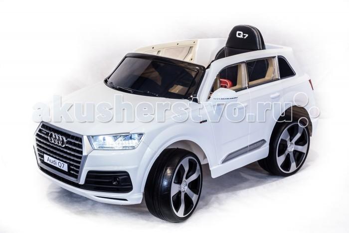 Электромобиль Toyland Audi Q7 высокая дверьAudi Q7 высокая дверьToyland Audi Q7 высокая дверь - этот стильный и модный внедорожник сможет стать верным другом вашего ребенка. Машина максимально приближена к реальной не только благодаря внешнему сходству, но и непревзойденному качеству. Все элементы тщательно подобраны и проработаны, кроме того, большое внимание было уделено внешнему покрытию.  Особенности: большие полностью резиновые колеса EVA, максимальная нагрузка 35 кг 2 аккумулятора 6V/7Ah, два двигателя: 2x55W, привод на два задних колеса                                                амортизаторы на задних колесах для плавности хода максимальная скорость 7 км/ч,  вперед плавный набор скорости с помощью педали, одна скорость движения назад заводится с кнопки. открываютщиеся двери, кожаное сиденье с ремнем безопасности удобный руль  (кнопка клаксона и звук мотора на руле активируется при помощи двух батареек), музыкальные эффекты на приборной панели разъем для подключения MP3, вход для карты SD, вход для USB, встроенный FM-радиоприемник светодиодные огни фар и задних сигналов В комплекте:  аккумулятор зарядное устройство пульт дистанционного управления (работает по bluetooth, радиус действия до 30 метров) Размер электромобиля: 121 х 71 х 59 см Максимальная скорость: 7 км/ч.<br>