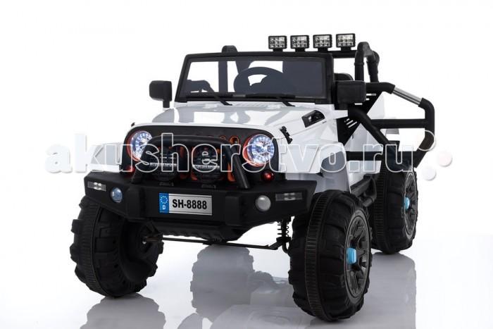 Электромобиль Toyland Jeep SH 888Jeep SH 888Электромобиль Toyland Jeep SH 888 великолепная модель детского транспортного средства для катания детей по любому дорожному покрытию без исключения!  Салон автомобиля тщательно проработан. Сиденье изготовлено из кожи и имеет удобную спортивную форму. На нем смогут разместиться либо два малыша в возрасте от 1 до 4 лет (в этом случае руль будет смещен влево), либо один – старше 4 лет. Садясь в машину, дети будут чувствовать себя комфортно и уютно. Пристегнуться можно с помощью ремня безопасности. Сразу привлечет наличие панели приборов с подсветкой и автомагнитола. На руле имеются кнопки, отвечающие за регулировку громкости данной музыкальной системы, и клаксон. Также вы сможете переключать любимые треки простым нажатием на соответствующую кнопку. Установленная музыкальная система поддерживает карту памяти, также у нее имеется USB-выход, AUX и радиоприемник.  Модель имеет открывающиеся двери, выполненные в виде одного каркаса, и заводится с ключа. Всего у автомобиля 3 скорости, из которых: две вперед и одна назад. Их переключение осуществляется с помощью пульта ДУ, а для плавного набора скорости просто равномерно нажимайте на педаль газа. Радиус действия пульта дистанционного управления составляет 30 м, работает по Bluetooth.<br>