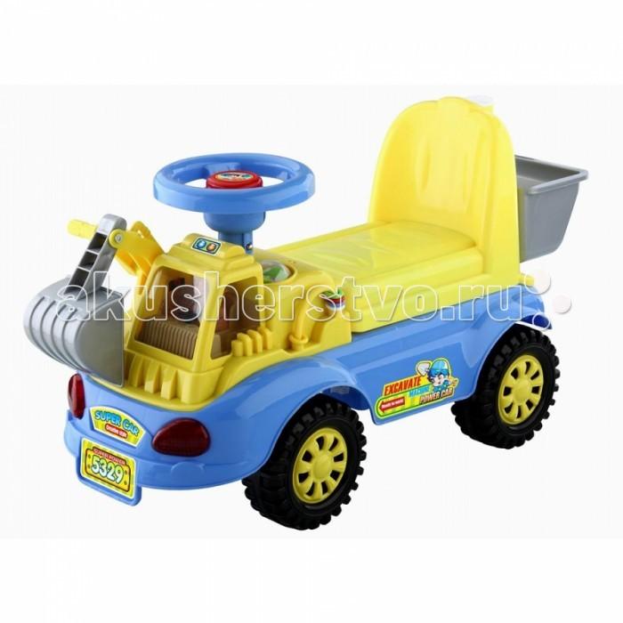 Каталка Toysmax Экскаватор 5329Экскаватор 5329Каталка Toysmax Экскаватор многофункциональная игрушка, которая позволит ребенку развить координацию движений и провести время за интересной игрой, а также почувствовать себя настоящим водителем.  Характеристики:  Каталка имеет устойчивую конструкцию Высокая спинка, за которую малыш может держаться при ходьбе Вместительный багажник под сиденьем Свето-музыкальные эффекты Легкое движение вперед и назад Вместительный багажник под сиденьем На руле кнопка звукового сигнала-пищалки Колеса с поворотом на 90 градусов.  Размер: 58&#215;37&#215;49 см  Вес: 5,05 кг  Возраст: от 3 года до 6 лет<br>