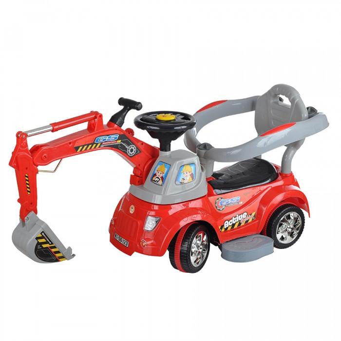 Каталка Toysmax электрическая Экскаватор с пультомэлектрическая Экскаватор с пультомКаталка электрическая Toysmax Экскаватор с пультом яркая и многофункциональная игрушка.  Каталка имеет устойчивую конструкцию. Высокая спинка. Вместительный багажник под сиденьем с набором игрушек: лейка, грабли, лопатка. Свето-музыкальные эффекты. Оснащена ковшом, который с помощью специальных рычагов поворачивается вверх-вниз. Колеса с поворотом на 90 градусов. Движение вперед и назад.  Размер: 103х29х46.5 см  Вес: 4,45 кг  Возраст: от 3 года до 6 лет<br>