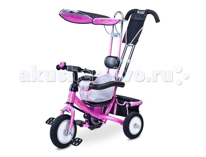 Велосипед трехколесный Toyz DerbyDerbyToyz Велосипед Derby – это безопасная и прочная модель, которая совмещает в себе велоколяску и классический трехколесный велосипед. Пока ребенок не научится самостоятельно кататься на велосипеде, вы сможете совершать в нем прогулки, как в прогулочной коляске. Ребенок будет удобно сидеть, поставив ноги на подножку и пытаться рулить, в то время как мама будет катать малыша, используя родительскую ручку. Чуть позже, осваивая педали, вы сможете уберечь неопытного велосипедиста от случайного падения во время поворотов.   Велосипед оснащен всеми необходимыми элементами: Удобное сидение-стульчик имеет мягкий вкладыш с перемычкой между ножек, которая крепится на бампер  Бампер окружает малыша и не позволит ему вывалиться вперед или завалиться на бок. Когда ребенок подрастет, бампер можно демонтировать.  К высокой спинке с подголовником крепится небольшой тент, способный защитить малыша от палящего солнца  Под сидением имеются упоры для ног ребенка, которые будут уместны, пока малыш не освоит педали. Упоры обеспечат правильное и безопасное положение ног ребенка во время движения  Благодаря наличию удобной ручке для родителей, велосипедом легко и комфортно управлять и поворачивать На ручке расположен небольшой кармашек для мелочей Велосипед имеет удобный руль, на котором расположен звонок Рама металлическая, очень прочная  Надувные колеса очень устойчивые, имеют достаточно большой диаметр.Резиновые колеса обеспечат плавный, ровный ход вашему вездеходу Сзади установлена багажная корзина, в которую малыш может положить игрушки, ведерко с лопаткой и все, что ему может пригодиться на прогулке. Дети очень любят катать свои игрушки. Мама сможет довести до места покупки Размеры: 86 x 49 x 104 см  Удобный и функциональный велосипед Toyz Derby подарит вашему ребенку много радости и удовольствия от быстрой и комфортной езды!<br>