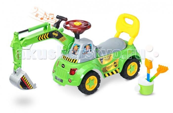 Каталка Toyz ScoopScoopToyz Каталка Scoopс такой каталкой ваш ребенок не будет скучать во время игры в саду или песочнице.  Транспортное средство соответствует всем необходимым нормам и изготавливается из твердых и безопасных материалов. Погрузчик оборудован ручным приводом, размещен на вращающейся башне Ковш приводится в движение только силой ноги ребенка и воображением. Дополнительные функции для привлечения внимания ребенка – интерактивный руль оснащен различными звуками, мелодиями и огоньками. Ваш ребенок может сделать первые шаги без особых проблем.  Особенности модели: оснащена ручным управлением - рычагом, размещеннымна вращающейся башне совок приводится в движение исключительно силой ног и силой воображения вашего ребенка интерактивный руль оснащен различными мелодиями, звук работающего двигателя и мигалками безопасность Вашего ребенка - имеет все необходимые разрешения и производится из безопасных материалов отделения для игрушек малыша – под сидением-багажник колеса большого диаметра позволят малышу с комфортом ездить по улице четкаяинструкции и легкая установка предназначен для детей в возрасте от 18 месяцев Размеры (ДхШхГ): 60 х 29 х 45 см<br>