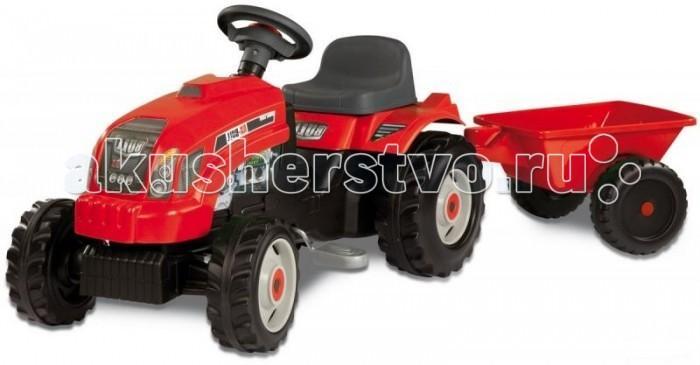 Педальные машины Smoby Педальная машина Трактор GM Bull+remorgue smoby детская горка king size цвет красный