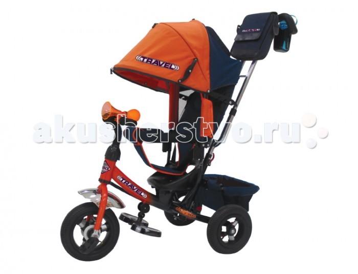 Велосипед трехколесный Travel TTA2O (колеса надувные/клаксон)TTA2O (колеса надувные/клаксон)Велосипед трехколесный Travel TTA2O (колеса надувные/клаксон) обеспечит комфорт и удовольствие для вашего малыша во время прогулки.  Такой универсальный детский транспорт позволяет ребенку как ездить самостоятельно, так и кататься под контролем взрослого. При самостоятельном передвижении ребенок будет приводить велосипед в движение при помощи педалей и управлять им рулем. Если же велосипед выполняет функцию прогулочной коляски, взрослый сможет толкать его перед собой при помощи специальной ручки, которая также служит и для управления.  Особенности: надувные колеса (переднее 10, заднее 8); высокая наклонная спинка: 3 положения; большой съемный капюшон: 3 секции; ручка управления для родителей; стальная тяга; складные подножки; трусики-безопасности; раземная дуга; тормозной механизм на задних колесах; корзина для игрушек; сумочка и бутылочка на ручке; на руле клаксон.<br>