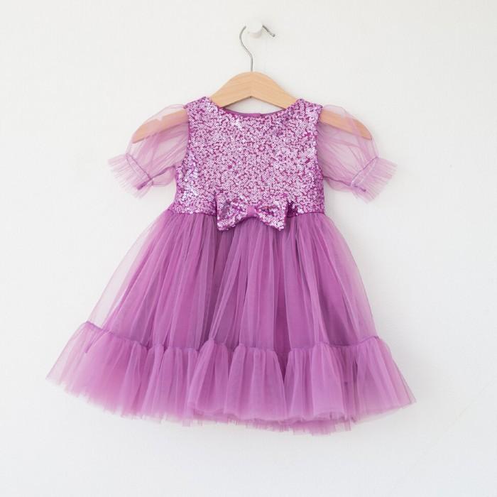 Платья и сарафаны Trendyco kids Платье трикотажное с фатином с рукавами-фонариками