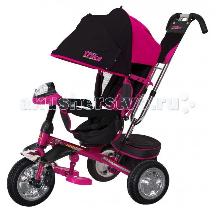 Велосипед трехколесный Trike T4T4Велосипед трехколесный Trike T4 обеспечит комфорт и удовольствие для вашего малыша во время прогулки.  Такой универсальный детский транспорт позволяет ребенку как ездить самостоятельно, так и кататься под контролем взрослого. При самостоятельном передвижении ребенок будет приводить велосипед в движение при помощи педалей и управлять им рулем. Если же велосипед выполняет функцию прогулочной коляски, взрослый сможет толкать его перед собой при помощи специальной ручки, которая также служит и для управления.  Особенности: Удобный велосипед Trike на трех колесах диаметром 25 и 20 сантиметров прекрасно подойдет для детей возрастом от 12 месяцев.  Велосипед оснащен всем необходимым для комфорта и безопасности ребенка.  При помощи родительской ручки, которая регулируется по высоте, можно управлять передним колесом.  Ребенку будет очень удобно сидеть на мягком эргономичном сиденье со спинкой, угол наклона которой можно изменить для большего удобства. Под сиденьем, оснащенным ремнями безопасности, расположена складная подставка для ног, которую при желании можно снять.  Велосипед также оснащен складным колясочным капюшоном, который поможет уберечь ребенка от попадания прямых солнечных лучей.  Сзади имеется вместительная багажная корзина для игрушек и удобная сумочка на родительской ручке.  Когда ребенок подрастет, можно снять корзину, ручку, спинку и колясочный капюшон, и он сможет ездить самостоятельно.  На руле расположены световой и звуковой модули, работающие от батареек.<br>