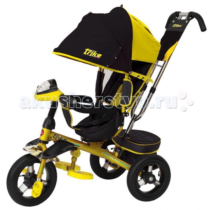 Велосипед трехколесный Trike TL4TL4Велосипед трехколесный Trike TL4 обеспечит комфорт и удовольствие для вашего малыша во время прогулки.  Такой универсальный детский транспорт позволяет ребенку как ездить самостоятельно, так и кататься под контролем взрослого. При самостоятельном передвижении ребенок будет приводить велосипед в движение при помощи педалей и управлять им рулем. Если же велосипед выполняет функцию прогулочной коляски, взрослый сможет толкать его перед собой при помощи специальной ручки, которая также служит и для управления.  Особенности: У велосипеда есть светодиодная и звуковая фара, большие надувные колеса, перекидная спинка и комфортная подставка для ног.  У модели трехколесного велосипеда реализована функция свободного хода педалей.  На переднем колесе есть красная лапка-рычаг, при помощи которой происходит блокировка хода педалей. Это очень удобная функция для малышей, активно пытающихся самостоятельно дотянутся до педалей. Большой диаметр колеса является наиболее удобным при самостоятельной езде на велосипеде ребенком. У больших колес больше накат и с такими колесами проще малышу выехать  любой ямы. Плюс надувная конструкция обеспечивает мягкий, плавный и бесшумный ход велосипеда. Такие колеса обладают большим спросом, т.к. они более удобны в использовании. Можно регулировать от полностью сидячего положения, промежуточного и полу-лежачего. Не стоит забывать о том, что это в первую очередь прогулочная вело-коляска и она не предусматривает полностью лежачего положения. Но комфортно откинуться и немного подремать ваш малыш без сомнений сможет. Ребенок защищен со всех сторон, т.к. у велоколяски есть защитное кольцо и ремень безопасности для самых непоседливых.  Наличие специальной подставки для ног, которая  обеспечит более комфортное положение малыша при езде. Она съемная и при необходимости легко убирается. Мультимедийная фара с музыкальным эффектом - это любимый атрибут велосипеда для маленьких и их пап. Фара светодиодная, на 7 диодов. Звуковые