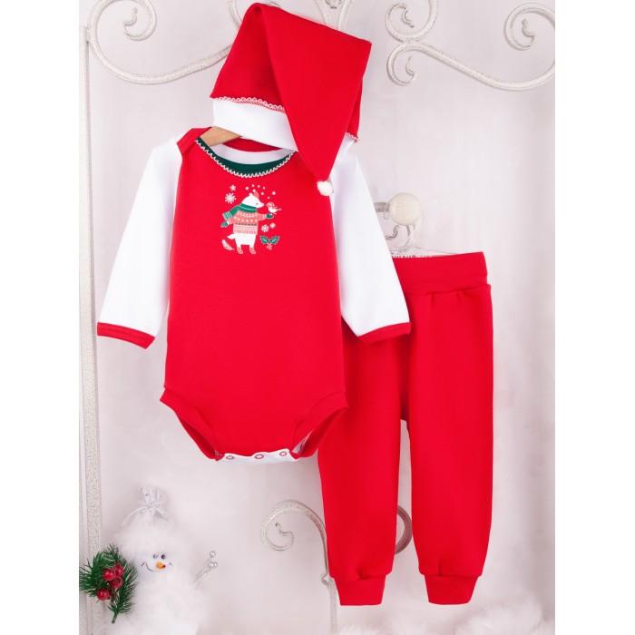 Купить Комплекты детской одежды, Трия Комплект (боди, брюки, шапочка) Интерлок Новогодний