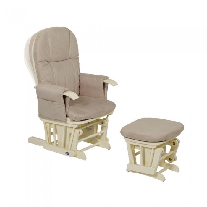 Кресло для мамы Tutti Bambini GC35GC35Кресло для кормления Tutti Bambini GC35 – нечто новое в здешних краях. Наши мамы кормили нас, сидя на кровати или в старом скрипучем кресле, в неудобной позе, с напряжённой спиной и утомлёнными руками. Британская компания Tutti Bambini решила позаботиться о женщинах, которые больше всего нуждаются в нежности и внимании. Так появились кресла с откидывающейся спинкой, стульчиком для ног и эффектом синхронного покачивания.  Это кресло создано для того, чтобы мама новорождённого малыша могла кормить свою крошку в идеальных условиях. Его форма с упругим сиденьем, мягкие подлокотники, на которые удобно опираться с ребёнком на руках, и подставка для ног выполнены так, чтобы кормящая мама получила возможность полностью расслабиться и почувствовать единение с ребёнком каждой клеточкой своего тела. Спинку можно откинуть и расположить в одной из 3-х позиций. По бокам, прямо под руками – два вместительных кармана для необходимых мелочей. Надёжный механизм плавно и бесшумно покачивает маму и малыша.   Особенности:  мягкое кресло-качалка и стульчик-качалка для ног;  натуральная древесина китайских пород деревьев;  упругие подлокотники на удобной высоте, большие карманы;  кресло и стульчик синхронно покачиваются;  плавный и бесшумный механизм качания;  наклон спинки регулируется в 3-х положениях;  подушки обиты тканью сухой чистки;  размеры кресла (ДхШхВ): 69х74х104 см;  размеры стульчика (ДхШхВ): 38х54х41 см;  максимально допустимый вес: 100 кг.<br>