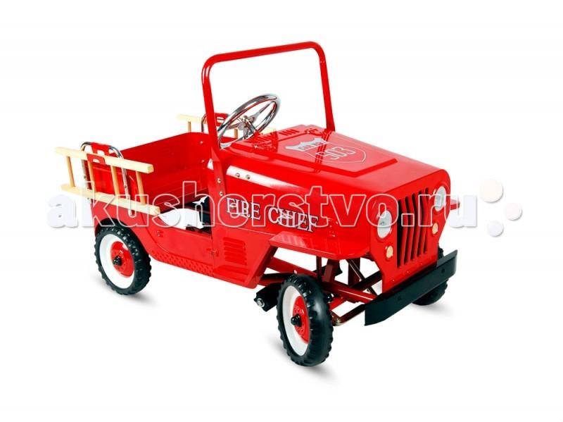 TVL Педальная машина FireПедальная машина FireПедальная машина TVL Fire, представляет из себя красный пожарный автомобиль TVL Fire модель не только отлично смотрится, но и демонстрирует великолепные ходовые качества.   Особенности: Эта модель непременно произведет впечатление и на ребенка, и на его родителей.  Прочный металлический корпус машинки, а также устойчивые колеса с шинами из настоящей резины – это гарантия долговечности и безопасности модели.  Благодаря рулю, который отзывается на малейшее движение водителя и возможности регулировки педалей под рост ребенка, машинкой легко управлять.  Ее компактные размеры и невысокая максимальная скорость обеспечивают оптимальную безопасность во время прогулок.  Этот автомобиль отлично подойдет для водителя от 3 до 6 лет.<br>
