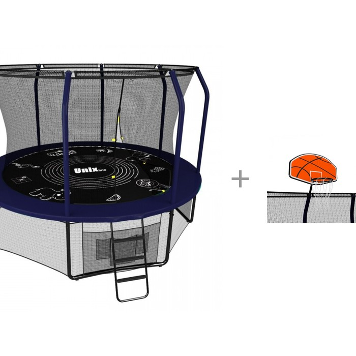 Unix line Батут Supreme Game (305 см/10 ft) с баскетбольным щитом Supreme