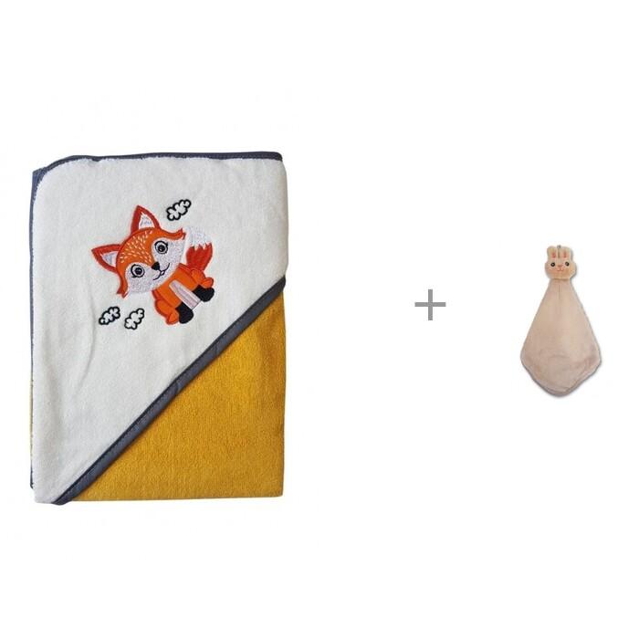 Купить Полотенца, Uviton Полотенце для купания Little Fox 90х90 см и Uviton полотенце-салфетка Кролик 30х30 см