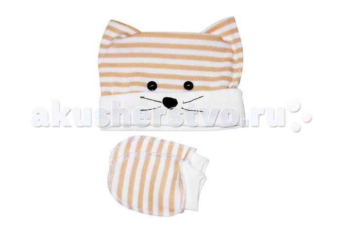 Шапочки и чепчики Uviton Набор шапочка и царапки Cat  шапочки и чепчики uviton набор шапочка и царапки bear