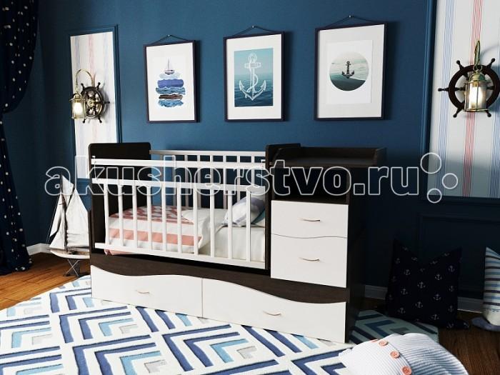 Кроватка-трансформер Valle Allegra поперечный маятникAllegra поперечный маятникКроватка-трансформер Valle Allegra поперечный маятник - прекрасное решение для длительного использования, которая позволяет адаптировать конструкцию под Вашего малыша с учетом его возраста и роста.  Особенности: Ее многофункциональная конструкция включает кроватку и подростковую кровать. А также пеленальный столик, ящики для одежды, игрушек и постельного белья, нишу для принадлежностей по уходу за малышом. При этом все дополняется эксклюзивной фурнитурой и роскошным дизайном в различных цветовых исполнениях.  Для удобства укачивания малыша кроватка оснащена маятником поперечного укачивания со стопором. Реечное ложе обеспечивает вентиляцию матраса и имеет 2 уровня высоты дна и боковой стенки. Боковинки оснащены защитными накладками.  Пеленальный столик огражден бортиками (размеры: 60х49 см). При этом стол можно использовать и без ящиков, а комод - как отдельную прикроватную тумбочку. Изготовлена из износостойкого материала ламинированного ДСП. рекомендована для детей с рождения до 15 лет выполнена из ЛДСП - экологичного и неаллергенного материала все материалы сертифицированы в соответствии с европейскими стандартами безопасности Экономит место и бюджет Вместительная и имеет привлекательный внешний вид Маятниковый механизм для удобства укачивания малыша Имеет ряд цветовых решений, позволяющий подобрать нужный цвет модели<br>