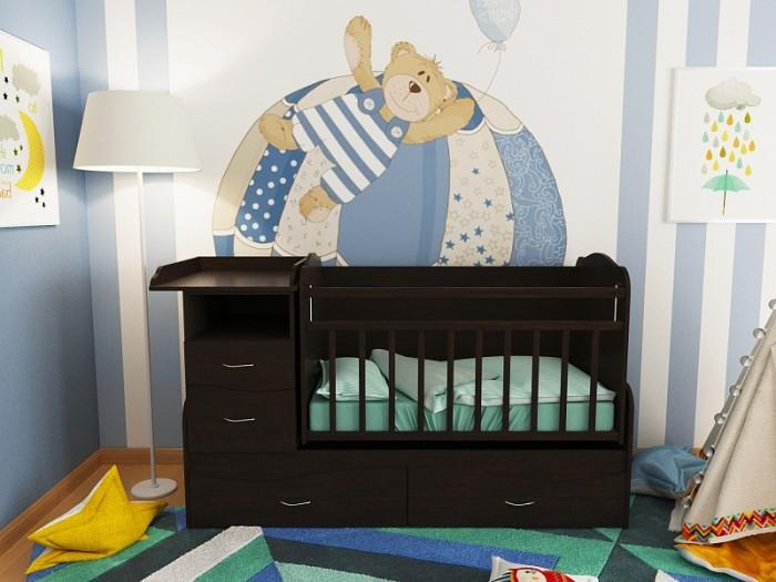 Кроватка-трансформер Valle Allegra Comfort поперечный маятникAllegra Comfort поперечный маятникКроватка-трансформер Valle Allegra Comfort поперечный маятник - прекрасное решение для длительного использования, которая позволяет адаптировать конструкцию под Вашего малыша с учетом его возраста и роста.  Особенности: Ее многофункциональная конструкция включает кроватку и подростковую кровать. А также пеленальный столик, ящики для одежды, игрушек и постельного белья, нишу для принадлежностей по уходу за малышом. При этом все дополняется эксклюзивной фурнитурой и роскошным дизайном в различных цветовых исполнениях.  Для удобства укачивания малыша кроватка оснащена маятником поперечного укачивания со стопором. Реечное ложе обеспечивает вентиляцию матраса и имеет 2 уровня высоты дна и боковой стенки. Боковинки оснащены защитными накладками.  Пеленальный столик огражден бортиками (размеры: 60х49 см). При этом стол можно использовать и без ящиков, а комод - как отдельную прикроватную тумбочку. Изготовлена из износостойкого материала ламинированного ДСП. рекомендована для детей с рождения до 15 лет выполнена из ЛДСП - экологичного и неаллергенного материала все материалы сертифицированы в соответствии с европейскими стандартами безопасности Экономит место и бюджет Вместительная и имеет привлекательный внешний вид Маятниковый механизм для удобства укачивания малыша Трансформируется в мини-диванчик (с боковым бампером для защиты от падения Имеет ряд цветовых решений, позволяющий подобрать нужный цвет модели  размер пеленального столика – 60х49 см общий размер – 107х175х68 см<br>