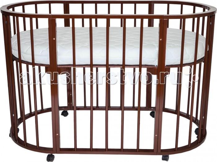 Кроватка-трансформер Valle Domenica 9 в 1Domenica 9 в 1Кроватка-трансформер Valle Domenica 9 в 1 имеет округлую форму без острых выступов.   Эта кроватка будет расти вместе с вашим малышом, она будет трансформироваться по увеличению размера и высоты ложа с самого рождения до дошкольного возраста. Затем она может использоваться как предметы мебели для детской комнаты - стулья и столик, манеж или диванчик.   Кроватка изготовлена из массива березы. Боковые планки кровати - круглые, что способствует развитию хватательных рефлексов у малыша.   Особенности: люлька для новорожденного классическая кроватка для новорожденного кроватка столик для пеленания диванчик игровой манеж столик и два стульчика корзина для игрушек 2 уровня ложа передняя стенка опускающаяся Европейский сертификат соответствия СЕ / Сертификат РСТ   Размеры матраса: 65х65- если матрас в верхней части, в случае если это пеленальная поверхность. Если собрать в нижней части-это ящик для игрушек (матрас уже не нужен). 92х65- малая овальная кровать 125х65-большая овальная кровать<br>