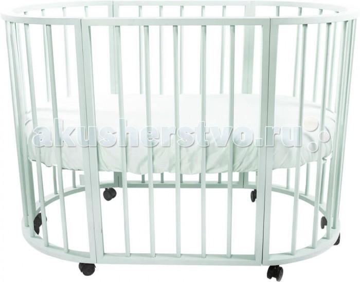 Детская кроватка Valle овальная Bianca 4 в 1овальная Bianca 4 в 1Детская кроватка Valle овальная Bianca 4 в 1 сочетает в себе комфорт, функциональность, практичность и при этом оригинальный дизайн.   Особенности: Модель производится отечественным брендом из качественной древесины, ложе кроватки выполнено из неокрашенного ДСП, что в сумме гарантирует демократичную ценовую политику, сопоставимо с качеством. В первые месяцы жизни ребенку не нужна большая кровать и модель Valle Bianca может превратится в небольшую круглую колыбель с регулируемым по высоте ложем и отдельный комод для полезных принадлежностей. Наличие колесиков делают кроватку Valle Bianca маневренной и простой для перемещения. При этом расстояние между рейками безопасное, сама кроватка лишена острых углов и мелких деталей со слабой фиксацией. Когда же ребенок подрастет, кровать Valle Bianca может принять базовый размер и прослужит несколько лет. С опущенным до низа дном, кровать Valle Bianca может выполнять функцию игрового манежа для ребенка. Кроватка характеризуется простым монтажом и регулировкой уровня ложа. Для окрашивания использованы безопасные лаки и краски. Следует отметить, что некоторые родители опасаются покупать мебель нестандартной формы или размера, так как это может повлечь за собой сложность с подбором матрасов или постельного белья. В данном случае подобные опасения излишни, так как наш магазин сразу предлагает ортопедический детский матрас круглой и овальной форм. Постельного белья, для кровати Valle Bianca подойдет любой детский комплект на усмотрение родителей. Защитные бамперы-накладки, в случае их наличия, на кроватку фиксируются с помощью традиционных завязок.<br>