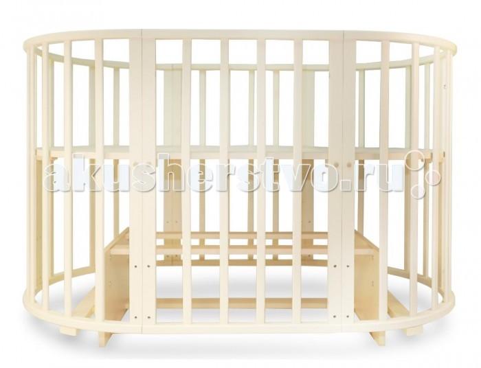 Кроватка-трансформер Valle Mimi овальная 6 в 1 (маятник поперечный)Mimi овальная 6 в 1 (маятник поперечный)Детская кроватка Valle Mimi овальная 6 в 1 маятник поперечный сочетает в себе комфорт, функциональность, практичность и при этом оригинальный дизайн.   Особенности: Модель производится отечественным брендом из качественной древесины, ложе кроватки выполнено из неокрашенного ДСП, что в сумме гарантирует демократичную ценовую политику, сопоставимо с качеством. В первые месяцы жизни ребенку не нужна большая кровать и модель Valle Mimi может превратится в небольшую круглую колыбель с регулируемым по высоте ложем и отдельный комод для полезных принадлежностей. Когда же ребенок подрастет, кровать Valle Mimi может принять базовый размер и прослужит несколько лет. С опущенным до низа дном, кровать Valle Mimi может выполнять функцию игрового манежа для ребенка. Кроватка характеризуется простым монтажом и регулировкой уровня ложа. Для окрашивания использованы безопасные лаки и краски. Следует отметить, что некоторые родители опасаются покупать мебель нестандартной формы или размера, так как это может повлечь за собой сложность с подбором матрасов или постельного белья. В данном случае подобные опасения излишни, так как наш магазин сразу предлагает ортопедический детский матрас круглой и овальной форм. Постельного белья, для кровати Valle Mimi подойдет любой детский комплект на усмотрение родителей. Защитные бамперы-накладки, в случае их наличия, на кроватку фиксируются с помощью традиционных завязок.  Система 6 в 1: большая овальная кровать , круглая кровать , манеж, кресло, стол, маятник 2 маятниковые системы, для круглой и овальной кровати. Внутренние габариты кровати: 125 х 75 см или 75 х 75 см<br>