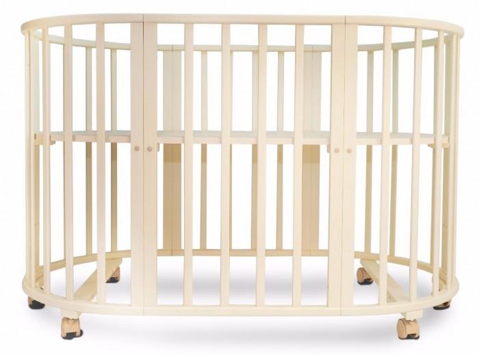Кроватка-трансформер Valle Patrisia овальная 5 в 1Patrisia овальная 5 в 1Детская кроватка Valle Patrisia овальная 5 в 1 сочетает в себе комфорт, функциональность, практичность и при этом оригинальный дизайн.   Особенности: Модель производится отечественным брендом из качественной древесины, ложе кроватки выполнено из неокрашенного ДСП, что в сумме гарантирует демократичную ценовую политику, сопоставимо с качеством. В первые месяцы жизни ребенку не нужна большая кровать и модель Valle Patrisia может превратится в небольшую круглую колыбель с регулируемым по высоте ложем и отдельный комод для полезных принадлежностей. Когда же ребенок подрастет, кровать Valle Patrisia может принять базовый размер и прослужит несколько лет. С опущенным до низа дном, кровать Valle Patrisia может выполнять функцию игрового манежа для ребенка. Кроватка характеризуется простым монтажом и регулировкой уровня ложа. Для окрашивания использованы безопасные лаки и краски. Следует отметить, что некоторые родители опасаются покупать мебель нестандартной формы или размера, так как это может повлечь за собой сложность с подбором матрасов или постельного белья. В данном случае подобные опасения излишни, так как наш магазин сразу предлагает ортопедический детский матрас круглой и овальной форм. Постельного белья, для кровати Valle Patrisia подойдет любой детский комплект на усмотрение родителей. Защитные бамперы-накладки, в случае их наличия, на кроватку фиксируются с помощью традиционных завязок.  Система 5 в 1: большая овальная кровать, круглая кровать, манеж, кресло, стол. Внутренние габариты кровати: 125 х 75 см или 75 х 75 см  Размер кроватки (ДхШхВ): 131 х 82 х 85 см<br>